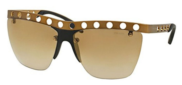 Prada Sonnenbrille 0PR53RS TWF2G2 Brushed Bronze Gold Perforated Mirorred
